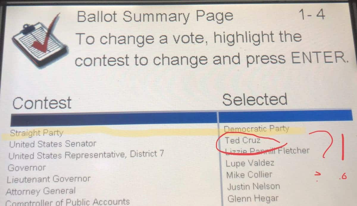 Texas ballot changing vote from Beto to Cruz