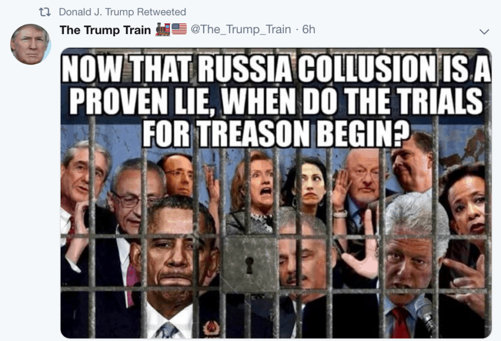 Trump Retweets Fan Account Meme Of Liberal Nemeses, Rod Rosenstein In Jail