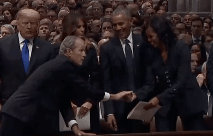 Michelle Obama George Bush Funeral