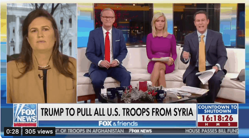 Fox News, Sarah Sanders Debate Over Trump Syria Decision