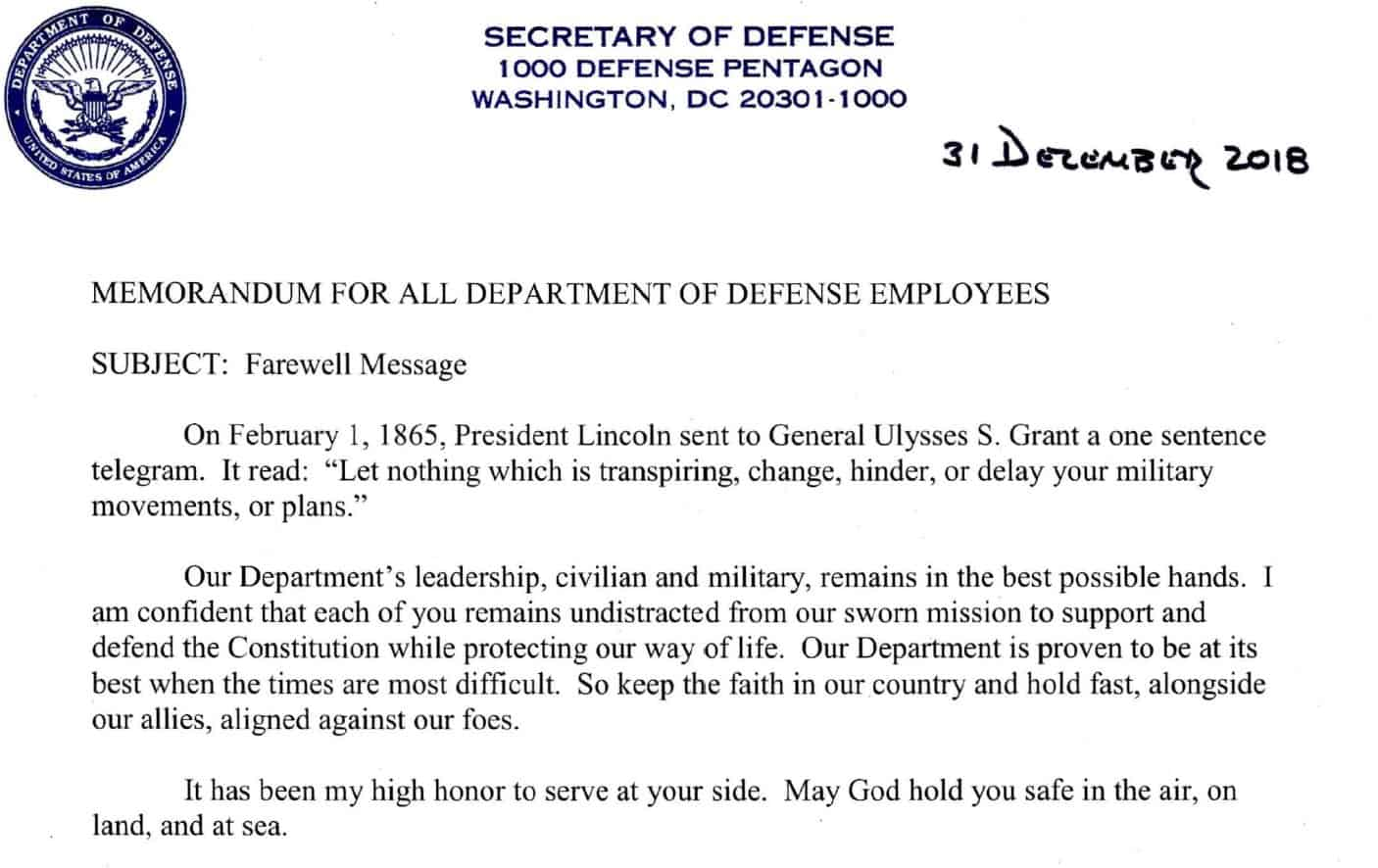 Here's The Goodbye Letter James Mattis Penned to DOD Employees