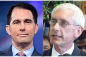 Left, Republican Gov. Scott Walker; right, Gov.-elect Tony Evers, a Democrat.