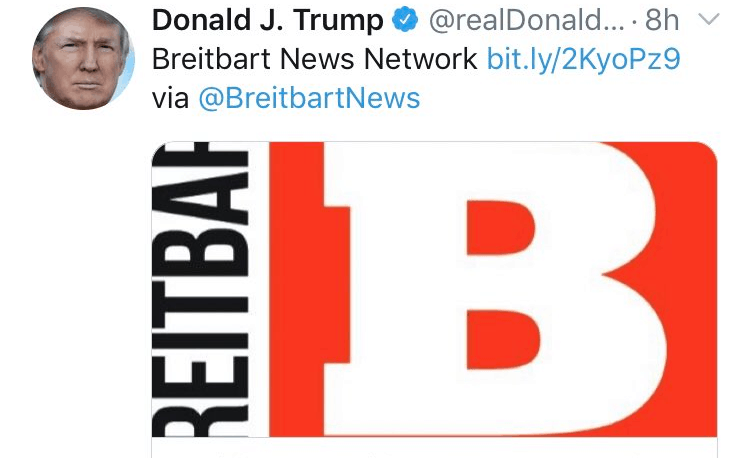 Trump Deletes Breitbart Tweet Hours After Right-Wing