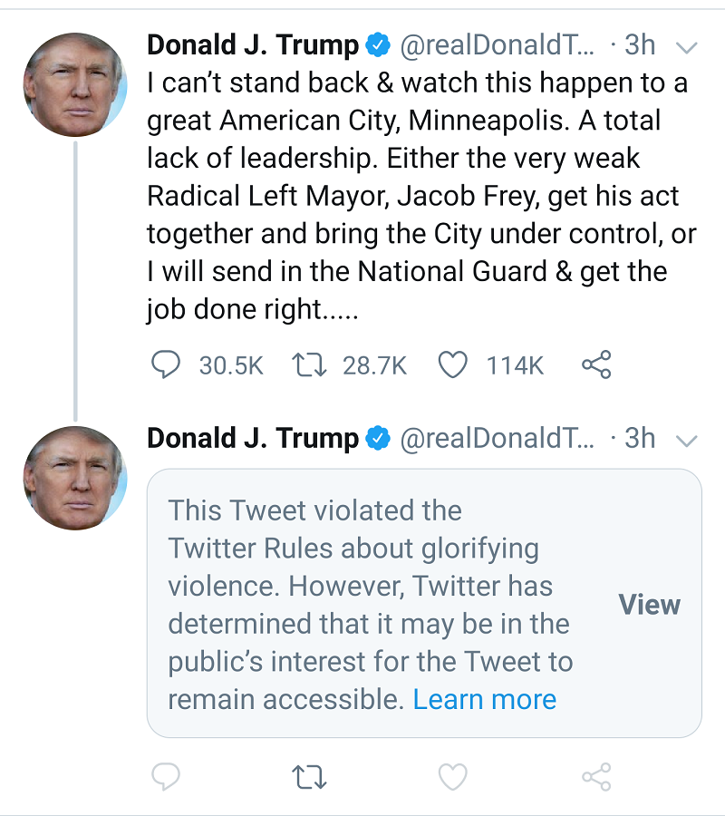 Trump glorifies violence on Twitter