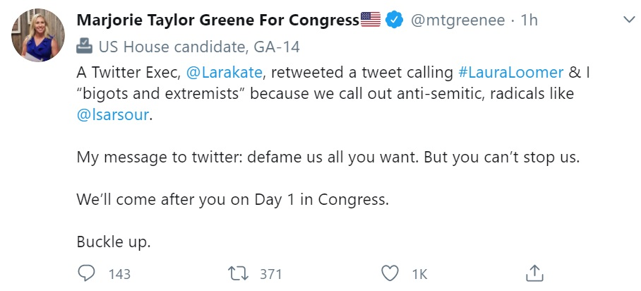 MTG threatens Twitter for calling her and Laura Loomer bigots and extremists