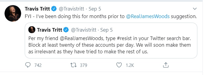 Travis Tritt is blocking people but they don't care