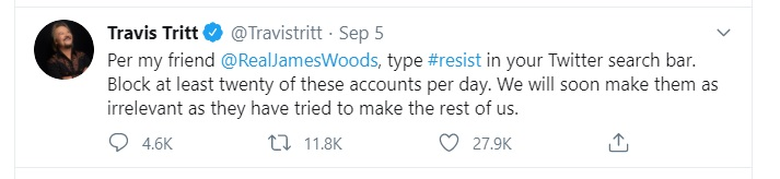 Travis Tritt blocks resist