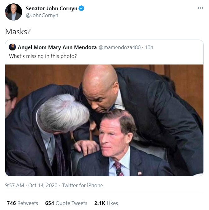 John Cornyn tweets misinformation